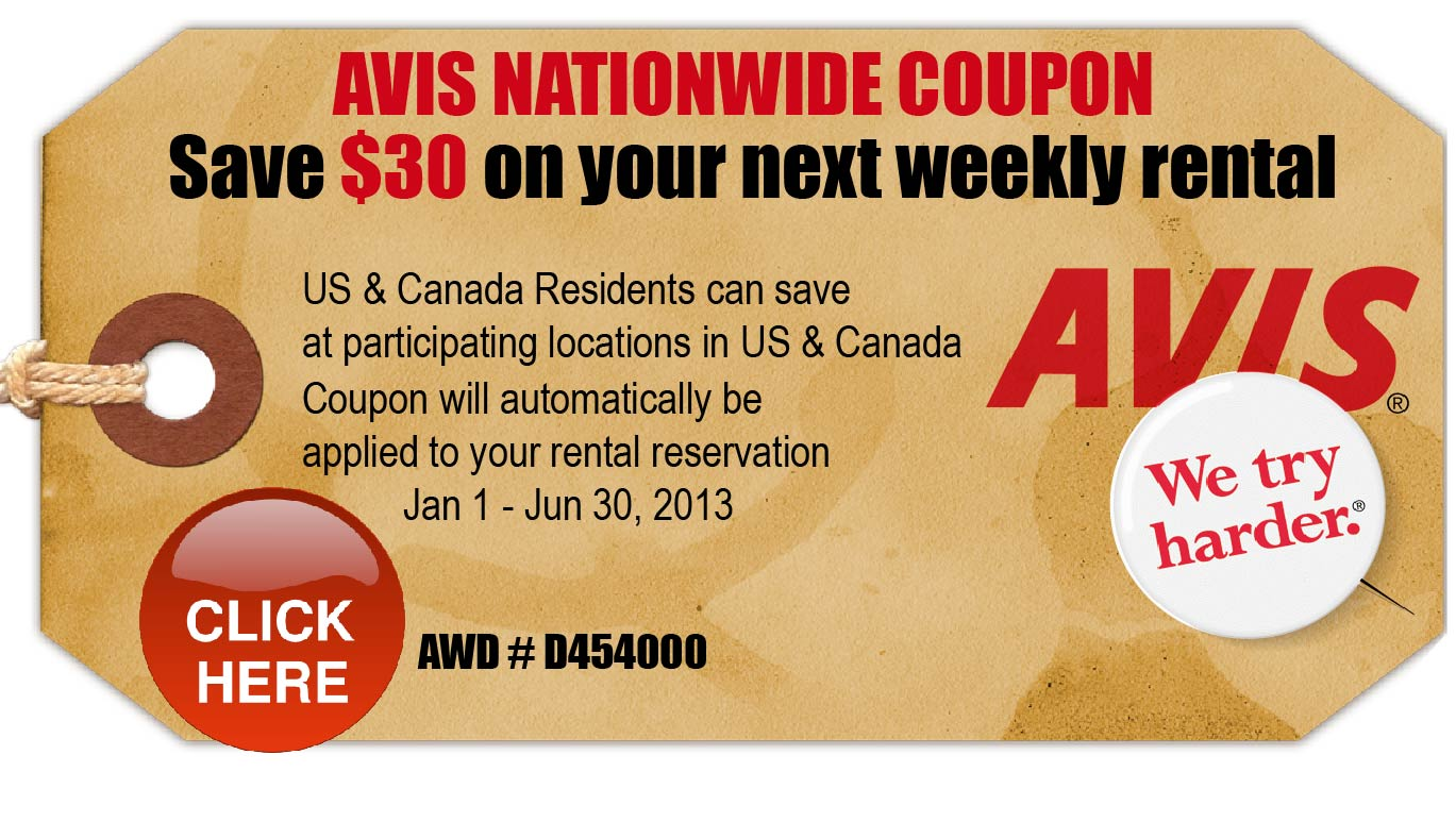 Avis car rental discount code 2016
